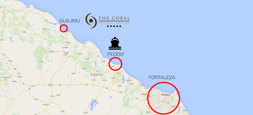 Map showing distance from Pecem to Fortaleza and The Coral